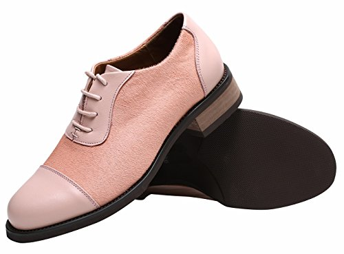 Ulite Womens Pieced Cowhide Leather Upper Lace Up Comfort Oxford Shoes,Featuring Soft Hony Hair at Vamp