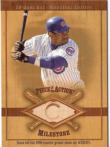 (2001 SP Game Bat Milestone #M-SS SAMMY SOSA bat card)