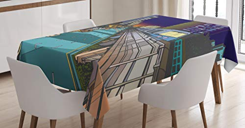 Lunarable Urban Tablecloth, Colorful Street View Illustration of Urban Residential Area and Overground Metro Line, Dining Room Kitchen Rectangular Table Cover, 60