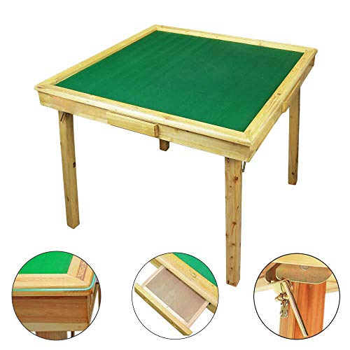 35 Mahjong Game Portable Folding Reversible Wooden Square Large Table for Poker/Dominoes/Card/Paigow/Mahjong Game Table with Coin Holders