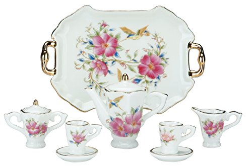 Miniature Collectible HUMMINGBIRD & FLOWERS Porcelain Tea Set: Teapot, Sugar Bowl, Creamer, 2 Teacups, Serving Platter (Hummingbird Set)