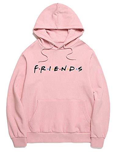 Pink Baggy Jean - Joeoy Women's Pink Casual Loose Cotton Blend Letter Print Friends Hoodie Pullover Tops-L