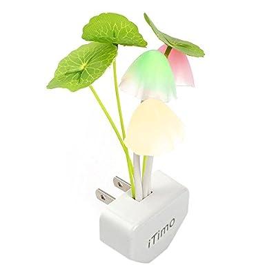 iTimo Color Changing Nursery Mushroom Night Light Plug In Led Wall Lamp With Dusk to Dawn Sensor For Kids Baby Sleeping
