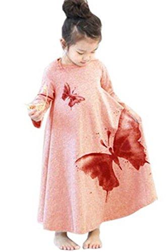 Girls Fall Line (Edress Fall Clothes Little Girls'Soft Cotton Long Sleeve Butterfly Print A-Line Dress (120(5-7t), Pink))