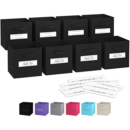 Royexe – Storage Cubes – (Set Of 8) Storage Baskets | Features Dual Handles & 10 Label Window Cards | Cube Storage Bins | Foldable Fabric Closet Shelf Organizer | Drawer Organizers And Storage (Black)