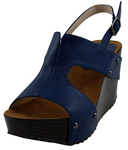 Cambridge Select Women Open Teen Side Cutout Slingback Studded Platform Sleehak Royal Blue
