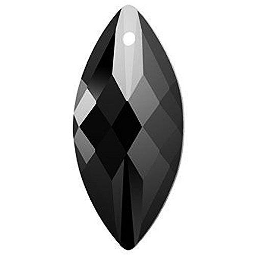 Beadwholesaler 1 Pc Swarovski 6110 Navette Crystal Pendant JET 40x18mm