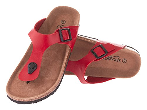 Seranoma Women's Thong Cork Sandal | Open Toe Slide | Flat Footbed Red