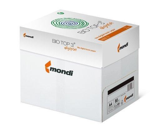 BioTop 3 Extra - Carta per fotocopiatrice, 80 g/mq, senza cloro, formato DIN A4, 2.500 fogli Mondi