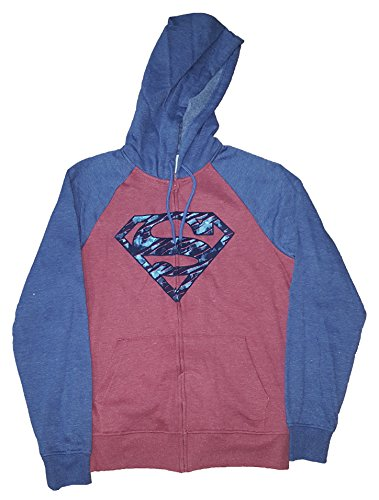DC Comics Superman Red w/ Blue Sleeves Graphic Zipper Hoodie - Medium]()