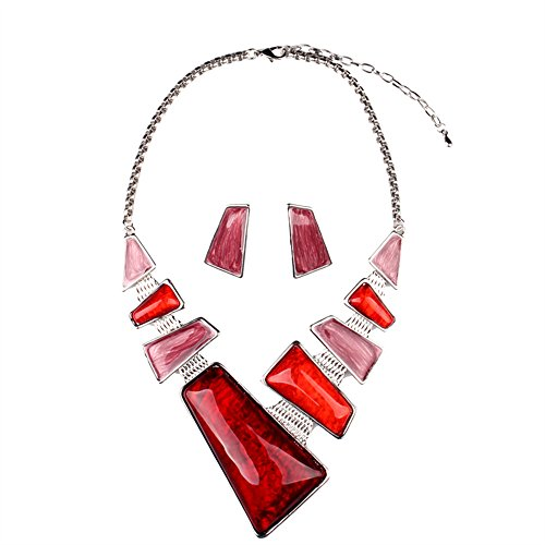 [Girl Era Vintage Costume Jewelry Chunky Resin Charm Link Necklace & Earring Set for Womens,red] (Costumes Jewelry Online)