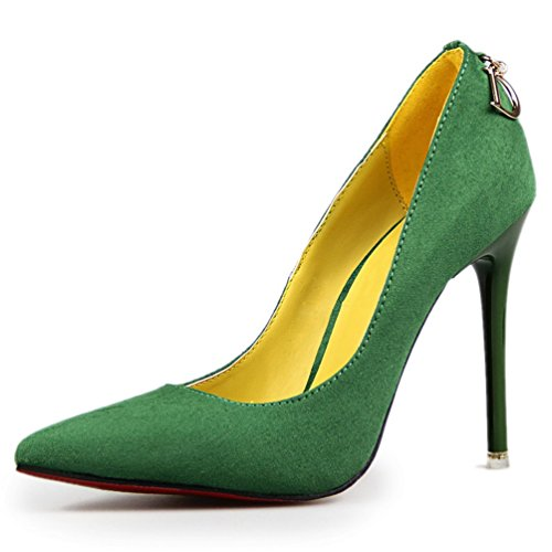Women's Dress Sexy Stiletto D Office Green Metal Pointed Pumps Lady HooH dP8ZFd