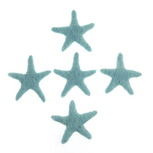 Zasy 100% Wool Needle Felt Stars Handmade 70mm70mm Starfish for Home Party Christmas Garland Accessories Kids Girls Bedroom Decoration (Mint) ()