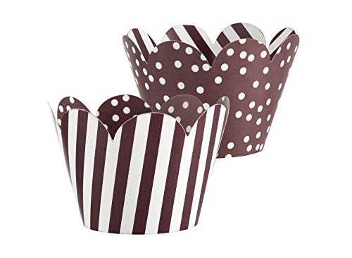 36 pcs/set Cupcake Wrappers Liner Baking Cup Wraps Double Sided Coffee Color Mini Cake Decor Party Birthday Decoration]()