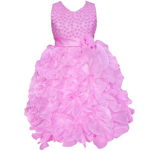 iEFiEL Girls Beading Bodice Ruffle Party Wedding Communion Flower Dress Pink 4-5