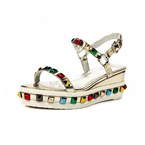 Open Sandals Womens Buckle Solid Toe AmoonyFashion Material Kitten Heels Gold Soft Z6xUxwq0z