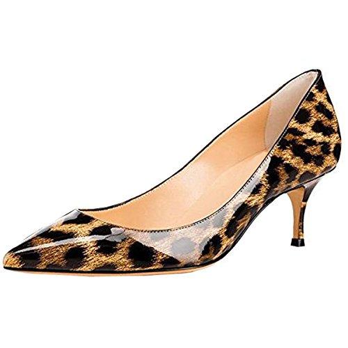 Lovirs Ufficio Da Donna Slip On Pumps In Vernice Martellata Tacchi A Punta Scarpe A Punta 6,5 cm Di Leopardo