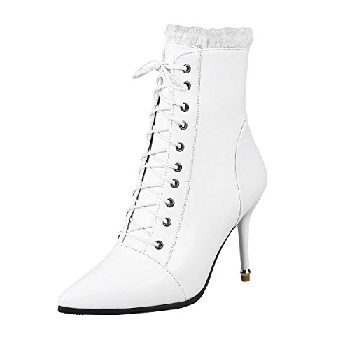 White Heel Boots Womens Ankle Pointed Zipper up Vitalo High Lace Shoes Booties PTB47x