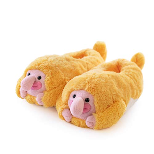 Proboscis Monkey - Plush Slippers Yellow