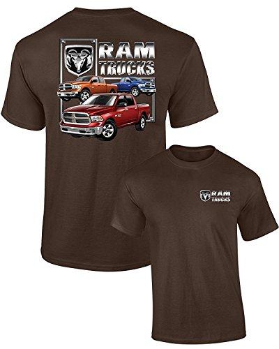 - Dodge T-Shirt RAM Trucks (3 Trucks) F&B Guts Glory, Brown, L