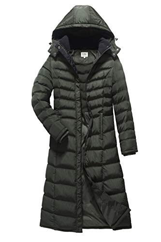 ELORA Women's Winter Heavy Quilt Jacket Fleece-Trim Hooded Full Length Puffer Coat Plus Size 1X - Quilt Puffer