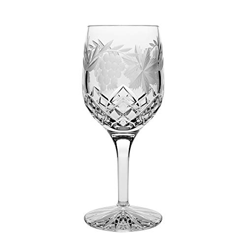 Barski - Hand Cut - Mouth Blown - Crystal - Wine or Water Glass - Goblet - With Grapevine Design - Set of 4 - 11oz. - Made in Europe