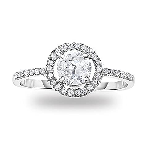 Rhodium-Plated Sterling Silver Prong Set Cubic Zirconia Classic Round Halo Engagement Ring, Size 7 - Sterling Silver Engagement Plated Ring