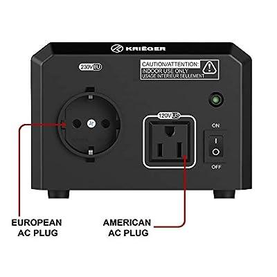 Krieger 150 Watt Voltage Transformer, 110/120V to 220/240V Step Up Step Down Voltage Converter, MET Approved Under UL, CSA: Automotive