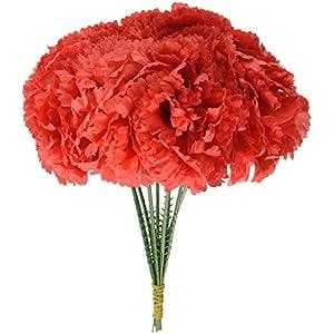 1000 Carnations Red Artificial Silk Flower, 5 Inch 3