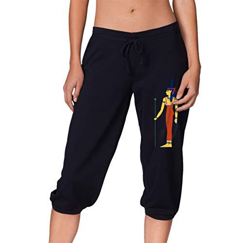 Womens Sweatpants Capri Pants, Egyptian Isis Black Joggers for Women - Capris Isis Womens