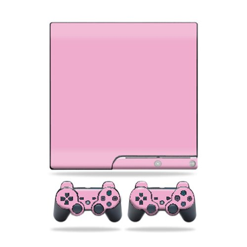 Mightyskins Protective Vinyl Skin Decal Cover for Sony Playstation 3 PS3 Slim skins + 2 Controller skins Sticker Solid Pink