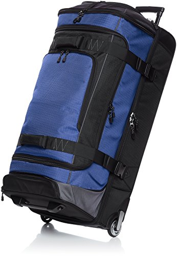 Large Duffel Roller - AmazonBasics Ripstop Rolling Travel Luggage Duffle Bag With Wheels - 35 Inch, Blue