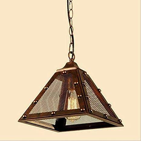 Maxmer Techo Industrial colgante retro del diamante de luz de la lámpara de hierro forjado pantalla de suspensión de la lámpara Luz Vintage