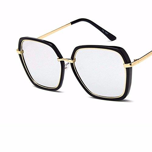 Sol del Gafas mercurio blanco sol Gafas negro de Ceniza Moda Sol de Sol deslumbramiento de Negra Brillante y poligonales de Liuxc Gafas Brillante qOtH66