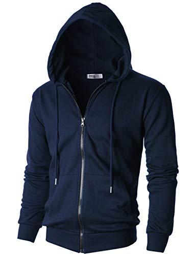 Ohoo Mens Slim Fit Long Sleeve Lightweight One-Tone Zip-up Hoodie with Kanga (Ribbed Trim Fleece Hoodie)