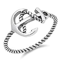 Sterling Silver Women's Rope Anchor Ring (Sizes 4-10)