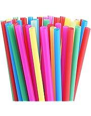 شفاطات سموثي ذات ألوان زاهية متنوعة بعرض 8 مم، شفاطات الحليب المصنوعة من البلاستيك السمين، عبوة من 100 قطعة