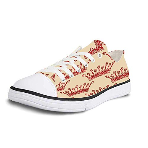 Canvas Sneaker Low Top Shoes,Queen Crowns Pattern in Red Vintage Design Coronation Imperial Kingdom Nobility Theme Decorative Man 11