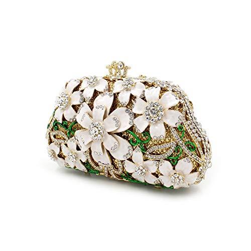 sac clouté strass fleur de dames main cristal Mageleo croisé en soirée Bag de creuse sac Sac A sac métal EqnZH7w