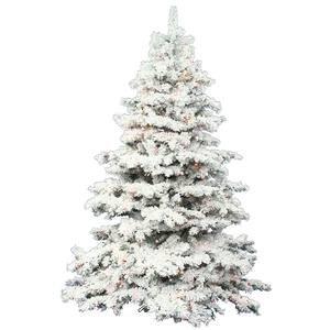Vickerman Pre-Lit Flocked Alaskan Pine Tree with 300 Multicolored Italian LED Lights, 4.5-Feet, Flocked White on ()