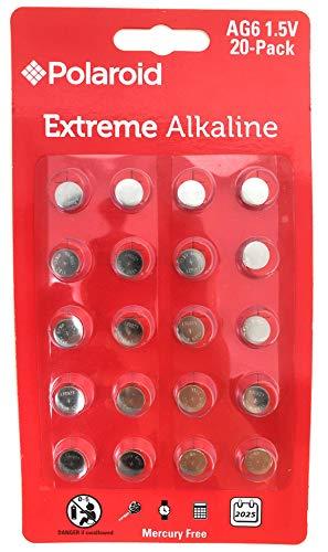 Polaroid Extreme AG6 LR69 370 371 LR920 SR920SW 1.5V Button Cell Alkaline Batteries No Mercury 0% Hg (20-Pack) – 2025 Expiry Date