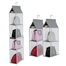 4-Pocket Hanging Purse Handbag,Businda Hanging Closet Bags Organizer for Purses for Girls Women
