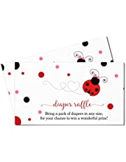 Ladybug Diaper Raffle Tickets (25 Pack) Girls Baby Shower Game