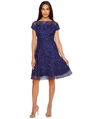 レタッチマリンヒール[アドリアナパペル] Adrianna Papell レディース Havana Gardens Lace Illusion Short Sleeve A-Line Dress ドレス Blue Sapphire 8 [並行輸入品]