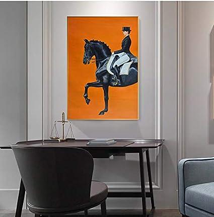 N / A Pintura sin Marco Moderna Mujer Caballero y Caballo HD póster Pintura artística Sala Moda Estilo nórdico decoración del hogarZGQ7122 80X120cm