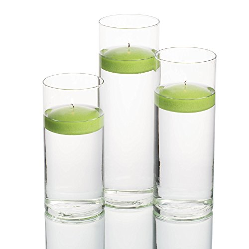 Candles Set Green Floating - Richland 36 Eastland Cylinder Vases and 3