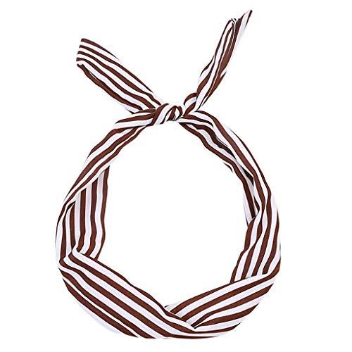 Fashion Pinstriped Headband Hair Accessories Retro Knotted Rabbit Ears Elastic Hair Band Fashion Headband Hair Band Coffee
