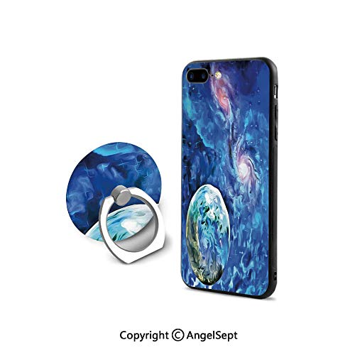 iPhone 8 Case/iPhone 7 Case with Ring Holder Kickstand,Exo Solar Planet Painting StyleUniverse Awesome Space,for Girls,Turquoise Blue Light Pink
