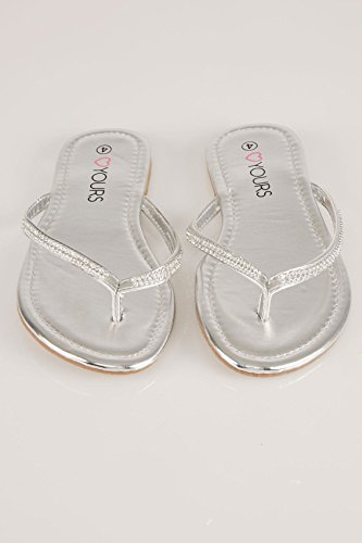 Flip Flop Trim In Wide Fit Eee Fit Silver Clothing With Women's Yours Blue Diamante qwYHXUZx