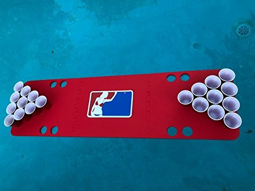 Red Major League Foam Beer Pong Table - 6ft, Foam, All Weather, Portable - Floats Anywhere by Floating Pong